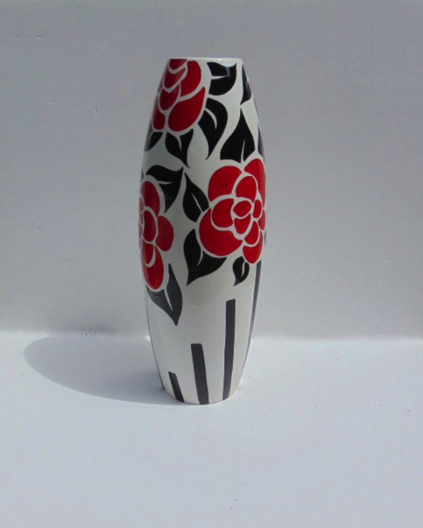 Deco rose tall vase