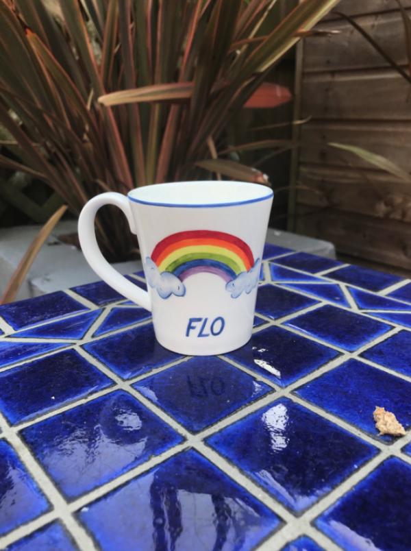Rainbow and superhero mug