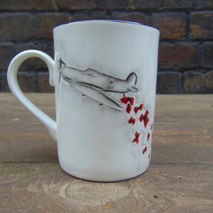Spitfire and poppies mug