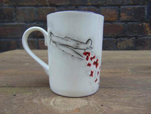 Spitfire and poppies mug